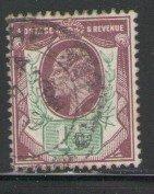Great Britain Sc 129 1902 1 1/2d violet & green Edward VII stamp used
