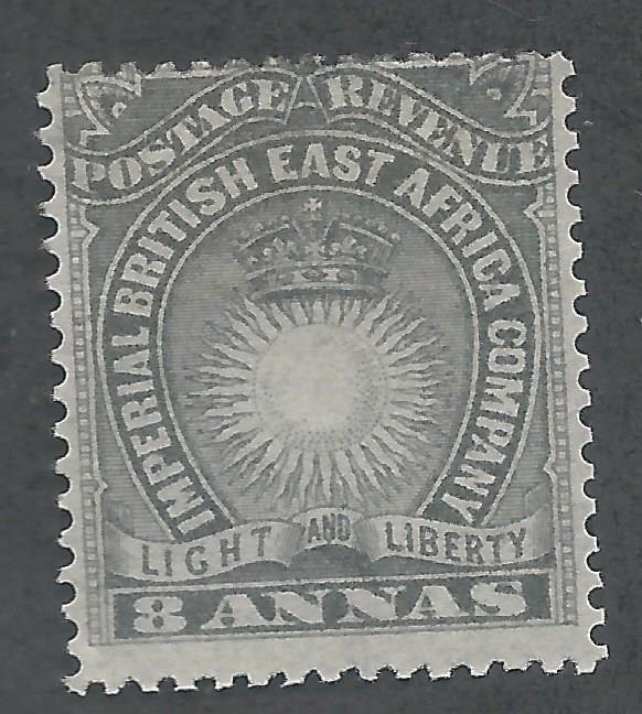 BRITISH EAST AFRICA 1890 LIGHT AND LIBERTY 8A GREY