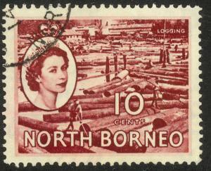 NORTH BORNEO 1954-57 QE2 10c LOGGING Pictorial Sc 267 VFU