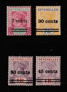 Seychelles 4 MH QV from the 1902 overprint set