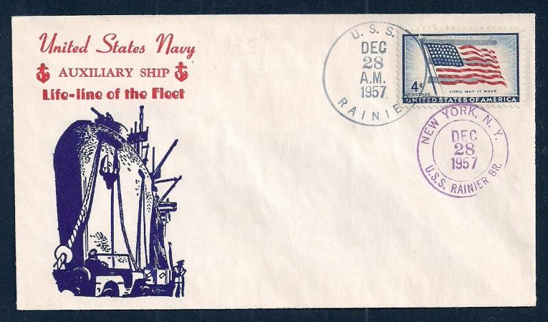 US NAVAL COVER USS Rainier AE5 Cacheted 1957