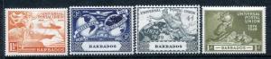 Barbados 212-215, MH, UPU-75 1949 Plane Ship Hemisphere Globe.
