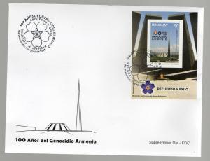 100 aniversary  Armenia Genocide Uruguay 2015 stamp s/s  used on FDC cover