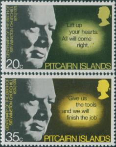 Pitcairn Islands 1974 SG155-156 Churchill birth set MNH