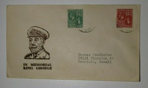 Virgin Islands KIng George Memorial Day Cachet Cover 1936 Sc# 53 54 Sg 80-81