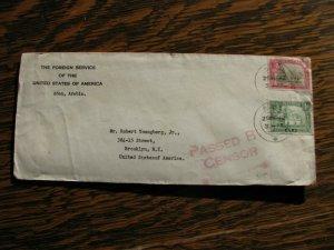 Aden Stamp Cover Censor Sc#16, #22 1945 US Foreign Service Usage