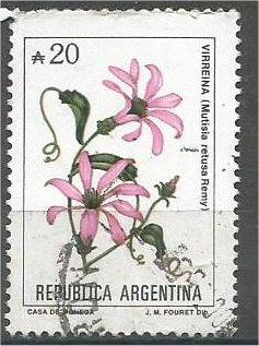 ARGENTINA, 1990, used 20a, Flowers, Scott 1684