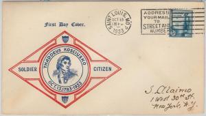 52536 -  UNITED  STATES - CACHET  FDC COVER - Scott # 734 T KOSCIUSKO Military