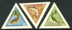 USA RATTLESNAKE ISLAND 1973 Local Post FISH Triangle Set of 3 MNH
