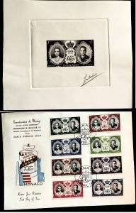 Monaco 366 Wedding set, Full Official FDC, Signed Die, Vic's Stamp Stash