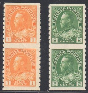Canada #126a-128a VF Mint NH/LH Vertical Imperforate Pair