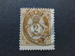 A5P18F4 Norway 1882-93 Post Horn unshaded 2o used