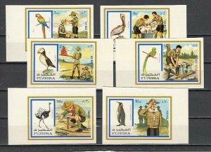 Fujeira, Mi cat. 1012-1017 B. Scouts & Birds, IMPERF issue. ^