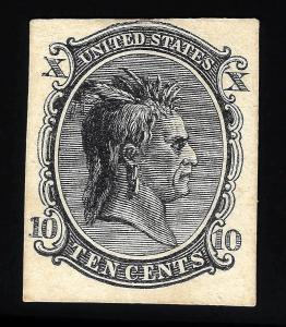 WCstamps: U.S. Scott #73-E6c / $600 - 10c Indian Black On Cream Card Essay, Fine