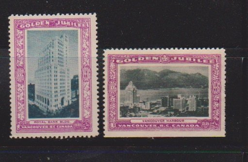CINDERELLA STAMPS  ON CITY OF  VANCOUVER GOLDEN JUBILEE  (2)   LOT#C-183