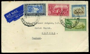 Western Samoa Airmail 1954 3d, 8d, 1d, & 1/ Airmail to Oxford
