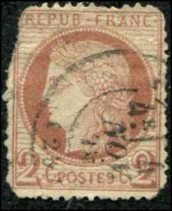 France SC# 39 Ceres 2c FAULTED    SCV $250.00 USED