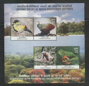 India 2012 # 2579a  Biodiversity Hotspots  Animals  Birds 4v S/S   MNH  03141 sd