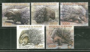 Burundi MNH Set Of 5 Porcupines 2012