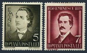Romania 491-492,hinged.Michel 596-597. Michail Eminescu,poet,1939.