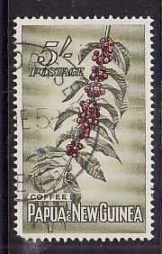 Papua New Guinea-Sc#146- id5-used 5sh-Coffee-short perf LL corner-1958-60-