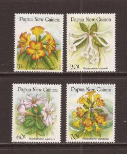 Papua New Guinea MNH 703-6 Rhododendron Flowers 1989