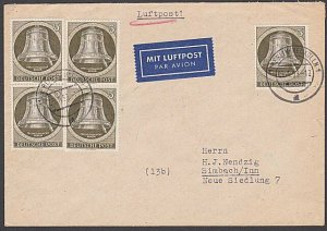 GERMANY 1953 Airmail cover ex Berlin - Bells franking.......................B345