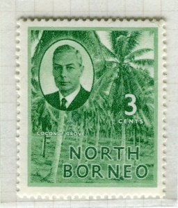 NORTH BORNEO; 1950 early GVI issue fine Mint hinged 3c. value