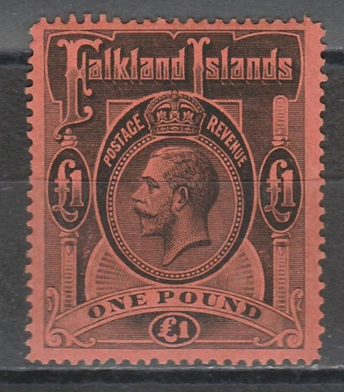 FALKAND ISLANDS 1912 KGV 1 POUND TOP VALUE
