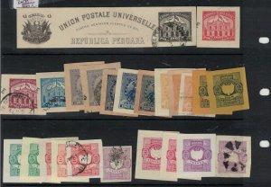Peru Postal Stationary Cutouts Lot of 24 VFU (7ext)