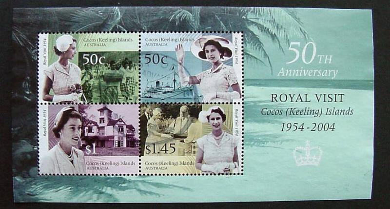 Cocos Island, Scott 340a, Royal Visit Souvenir Sheet, Used