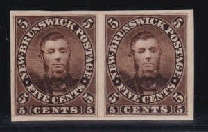 New Brunswick Sc #5P (1860) 5c Charles Connell Plate Proof Pair VF Mint