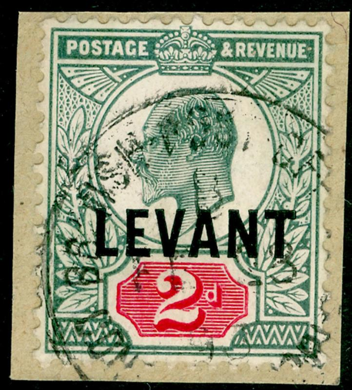 BRITISH LEVANT SGL4ab, 2d dull blue-green & carmine, FINE USED.