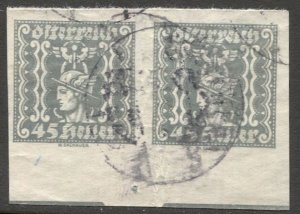 AUSTRIA 1921  Sc P48  45h Mercury Newspaper stamp Scarce Used pair, VF