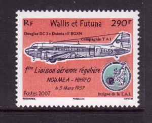 Wallis & Futuna-Sc#635-unused NH set-Planes-Noumea-Hihifo Air Service -2007-
