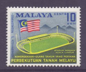 Malaya Federation Scott 87 - SG8, 1958 Independence Anniversary 10c MH*