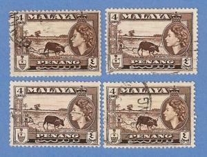Malaya Penang 47 Used H Pencil Mark - Rice Field, QE II