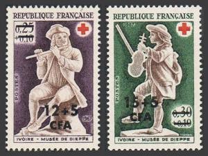 Reunion B26-B27,MNH.Michel 455.456 Red Cross 1967.Ivory flute,violin players.