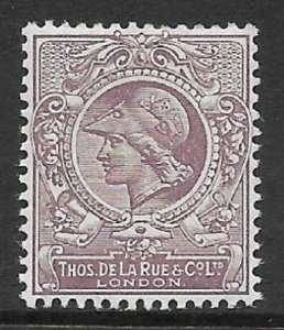 1910 DLR Minerva Head in Mauve with mauve background - perf UNMOUNTED MINT