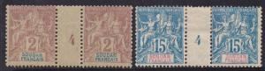 FRENCH SUDAN 1894 PEACE & COMMERCE GUTTER PAIRS 2C AND 15C