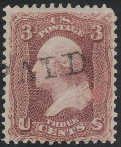 US Scott # 65 3c Washington Dark Shade / Paid Fancy Cancel