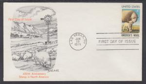 US Sc 1423 FDC. 1971 6c Sheep, first Bazaar Cachet