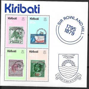 Kiribati #344a Sir Roland Souvenir sheet of 4  (MNH) CV 1.25
