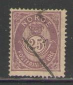 Norway Sc 45 1884 25 o post horn stamp used