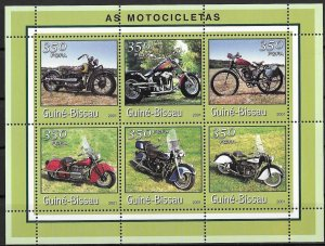 Guinea-Bissau MNH S/S Motorcycles 2001 6 Stamps
