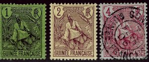 French Guinea Sc #18, 19 & 20 Used VF...French Colonies are Hot!