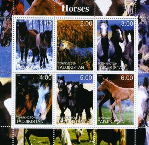 Tajikistan 2000 Horses Sheet (6) Perforated Mint (NH)
