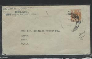 BRITISH HONDURAS  (PP0103B)   1919 KGV 3C WAR TAX BELIZE LARGE CIRCLE TO USA