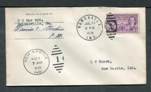 Postal History - Newcastle IN 1938 Numeral Duplex Cancel Cover B0380