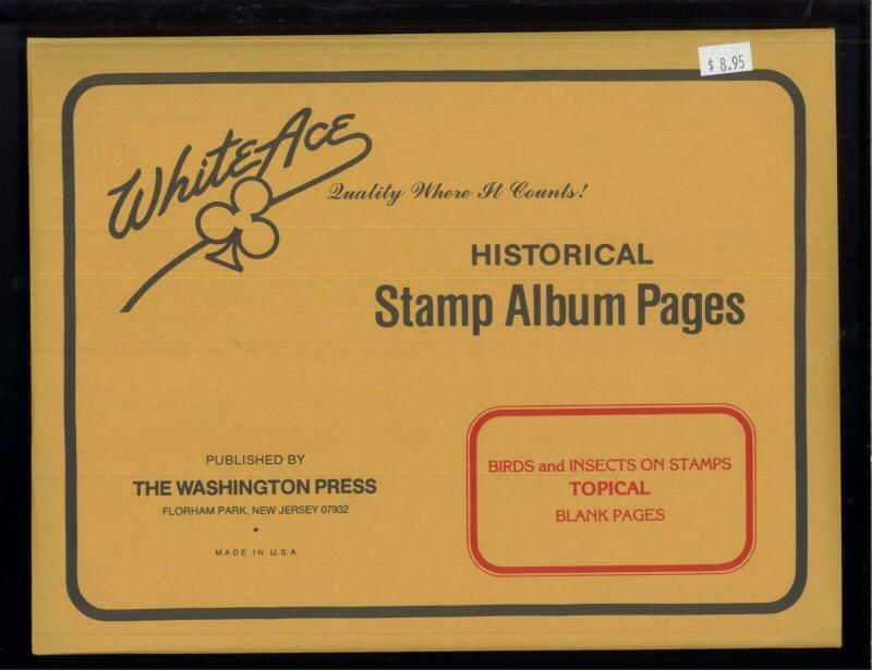 White Ace Stamp Album Pages Birds & Insects Topical Blank Pages Pack of 12